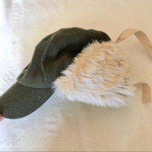 Faux fur wool blend cap winter hat women's s